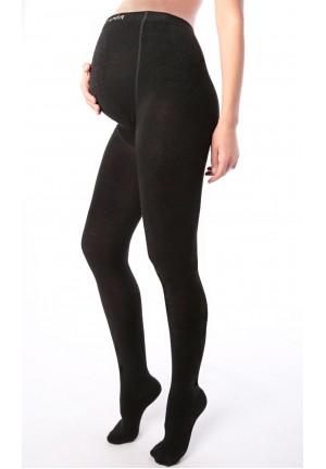 Колготки для беременных тёплые иск.шерсть черные (230den)