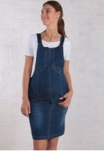 Комбинезон джинсовый (юбка) синий для беременных..
