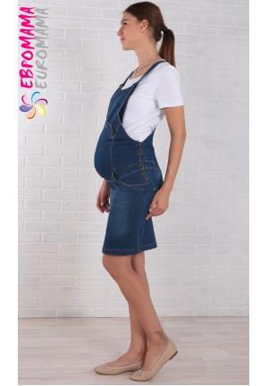 Комбинезон джинсовый (юбка) синий для беременных