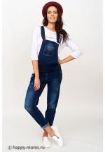 Комбинезон джинсовый для беременных синий с рванкой..