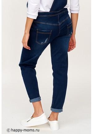 Комбинезон джинсовый для беременных синий с рванкой