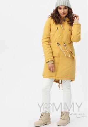 Куртка-парка 3в1 mustard (горчица) для беременных и слингоношения