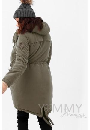 Куртка-парка 3в1 хаки для беременных и слингоношения