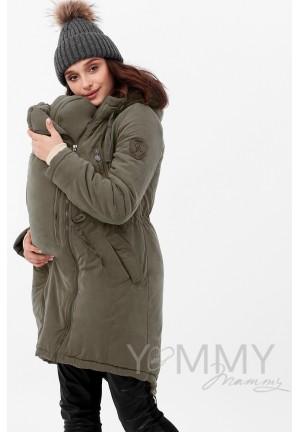 Куртка-парка 3в1 хаки для беременных и слингоношения (807)