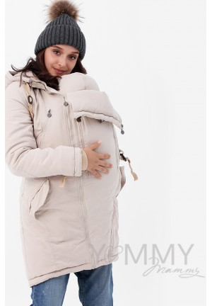 Куртка-парка 3в1 бежевая для беременных и слингоношения (807)