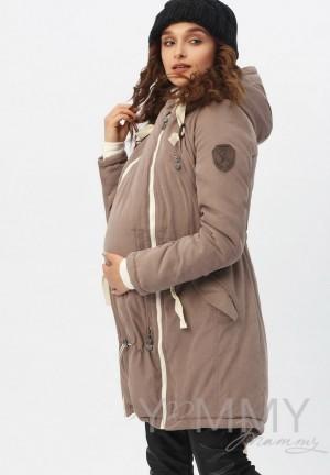 Куртка-парка 3в1 капучино для беременных и слингоношения (807)
