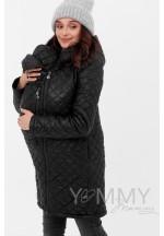 Куртка 3в1 черная стеганная для беременных и слингоношения (808)..