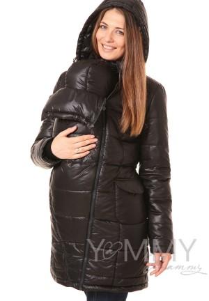 Куртка-пальто 3в1 черная для беременных и слингоношения
