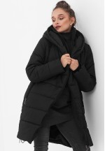 Куртка-пальто 3в1 черная для беременных и слингоношения (813)..