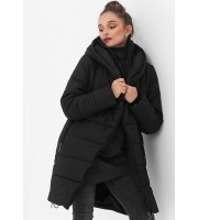 Куртка-пальто 3в1 черная для беременных и слингоношения (813)