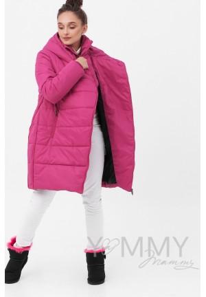 Куртка-пальто 3в1 фуксия для беременных и слингоношения (813)