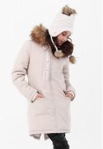 Куртка-парка 3в1 бежевая с принтом для беременных и слингоношения..