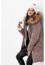 Куртка-парка 3в1 капучино с принтом для беременных и слингоношения..