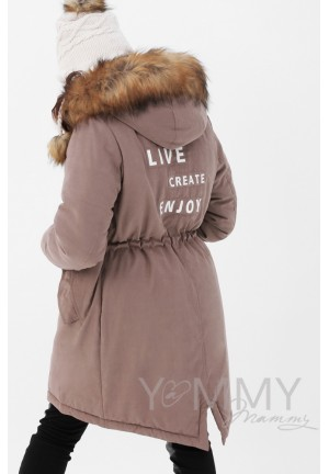Куртка-парка 3в1 капучино с принтом для беременных и слингоношения