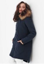 Куртка-парка 3в1 темно-синяя с принтом для беременных и слингоношения..