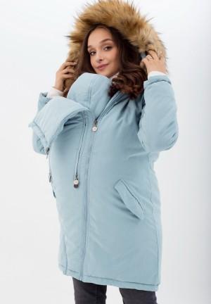 Куртка-парка 3в1 голубая с принтом для беременных и слингоношения (814)