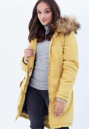 Куртка-парка 3в1 горчичная с принтом для беременных и слингоношения (814)