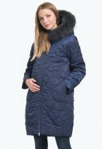 Куртка-пальто 2в1 зимняя Белла черника для беременных..