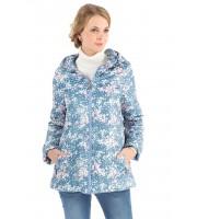 """Куртка деми 2в1 """"Каролина"""" цветочки на голубом для беременных"""