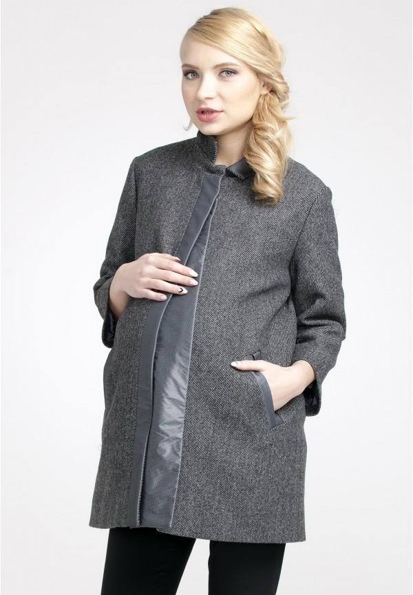 Пальто Марго темно-серое 50% шерсть со вставкой для беременных. 10da59d75a9