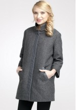 Пальто Марго темно-серое 50% шерсть со вставкой для беременных..