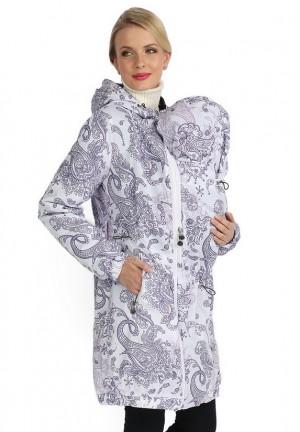 """Куртка деми 3в1 """"Вуаля"""" пэйсли на белом для беременных и слингоношения"""
