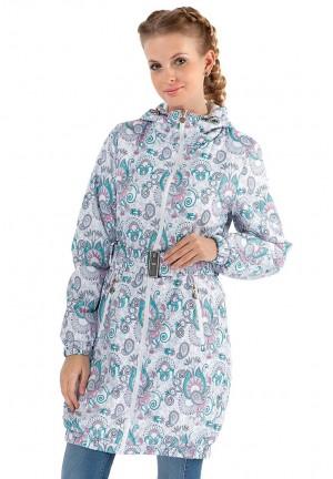 """Куртка деми 3в1 """"Вуаля"""" пэйсли бирюза на белом для беременных и слингоношения"""