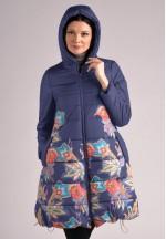 Куртка-пальто зимняя Ангелина синяя в цветы для беременных..