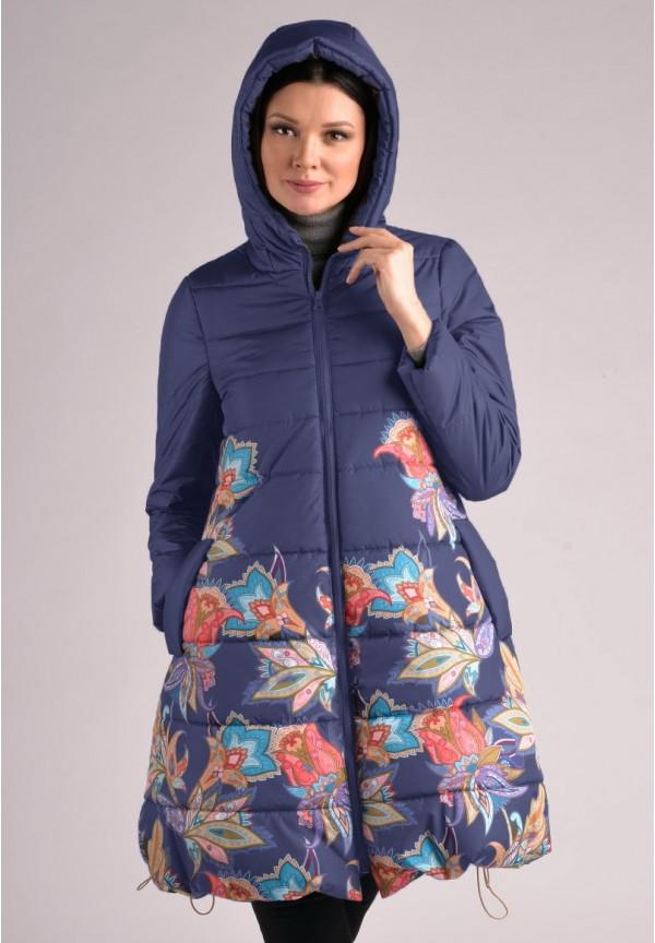 Куртка-пальто зимняя Ангелина синяя в цветы для беременных. 2424ff1ec4d