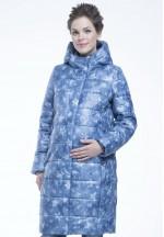 Куртка-пальто зимняя Глейс принт синий для беременных..