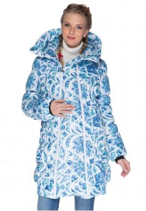 """Куртка 3в1 зимняя """"Исландия"""" льдинки на белом для беременных и слингоношения"""