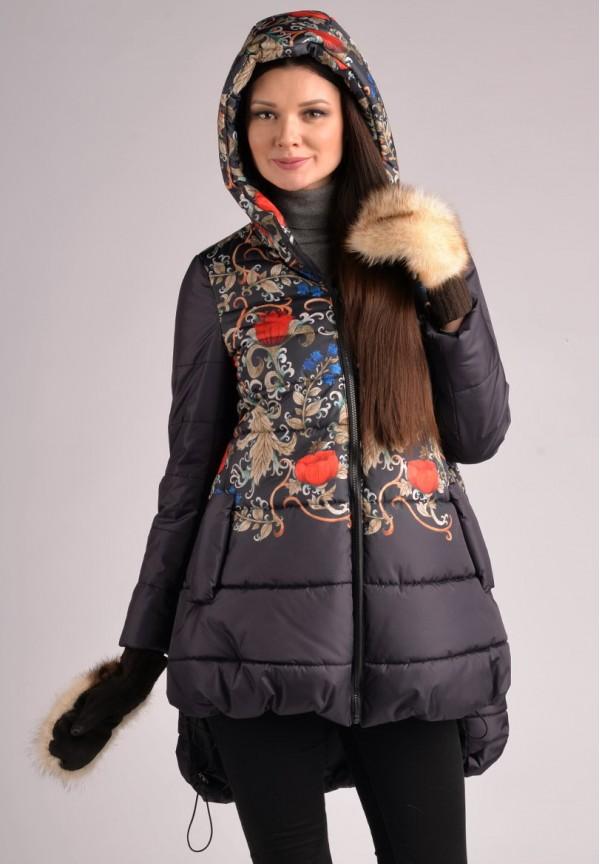 Куртка зимняя Лаура темно-синяя в цветы для беременных. 39c39ec02c3