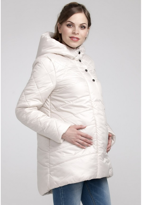 Куртка зимняя Сантини молочная для беременных (041234). 8e990a06901