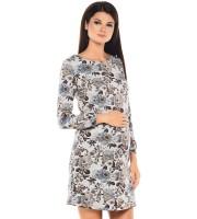 Платье для беременных серое в цветы (301310)