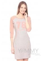 Платье для дома и сна серый меланж/розовый с принтом для беременных и ..