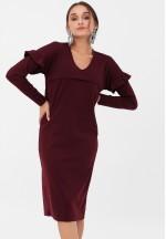 Платье с воланчиками на рукавах винное для беременных и кормящих..