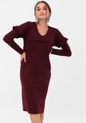 Платье с воланчиками на рукавах винное для беременных и кормящих