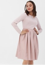 Платье пудрово-розовое с кожаной юбкой для беременных и кормящих..