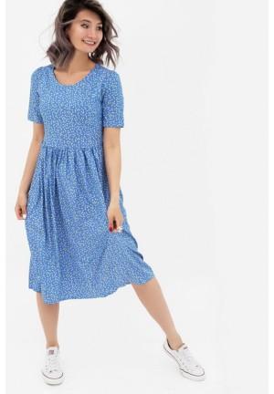 Платье голубое/рисунок для беременных и кормящих