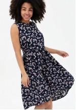 Платье-сарафан синее с цветочным принтом для беременных и кормящих..