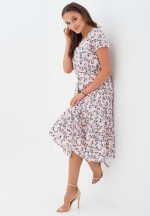 Платье с воланом светло-розовое с цветочным принтом для беременных и к..