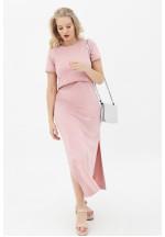Платье-футболка пудрово-розовое для беременных и кормящих (3010)..
