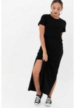 Платье-футболка черное для беременных и кормящих (3010)..