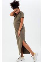 Платье-футболка хаки для беременных и кормящих (3010)..