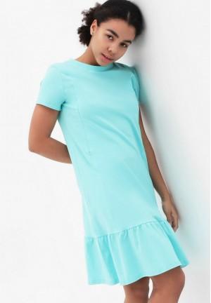 Платье с воланом ментол для беременных и кормящих