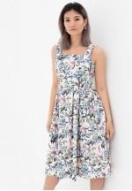 Платье-сарафан персик с цветочным принтом для беременных и кормящих..
