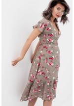 Платье на запах бежевое/цветы для беременных и кормящих..