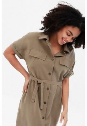 Платье-рубашка бежевое для беременных и кормящих