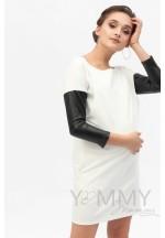 Платье-туника экрю с рукавами из экокожи для беременных и кормящих..