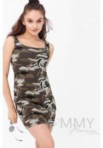 Платье-майка милитари хаки для беременных и кормящих..